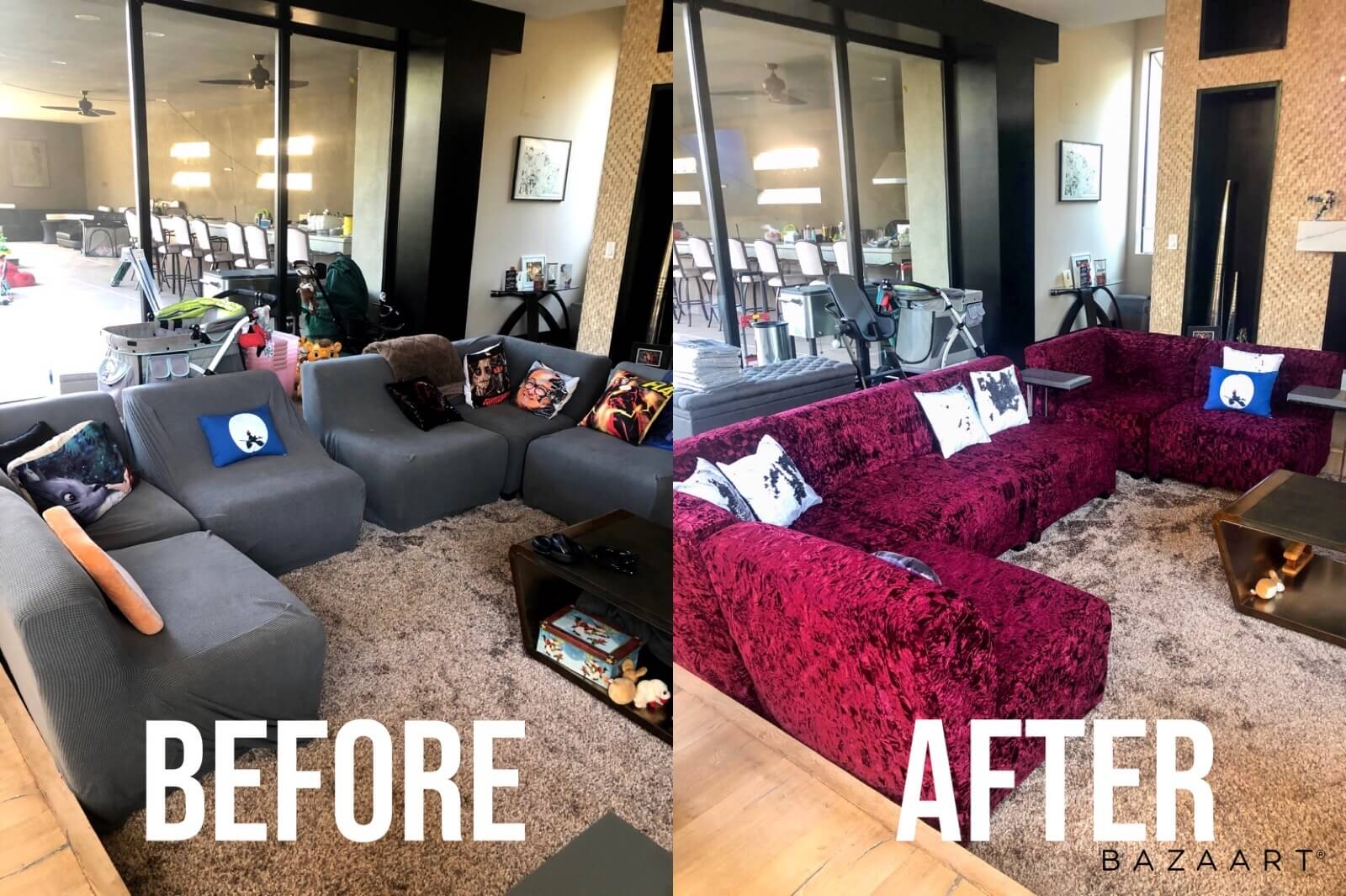 Before & After Couch Slip Covers