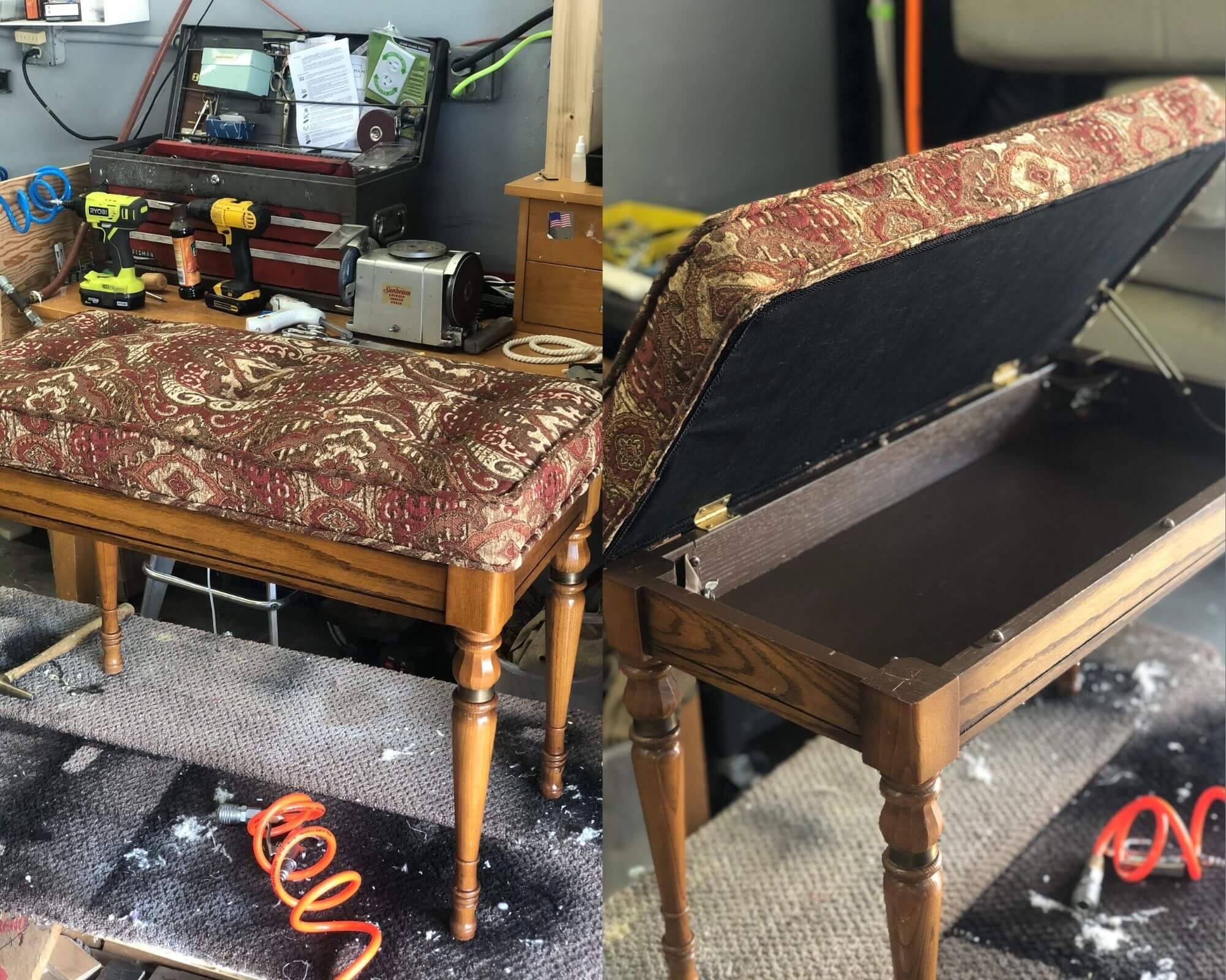 Vegas upholstery Piano Bench