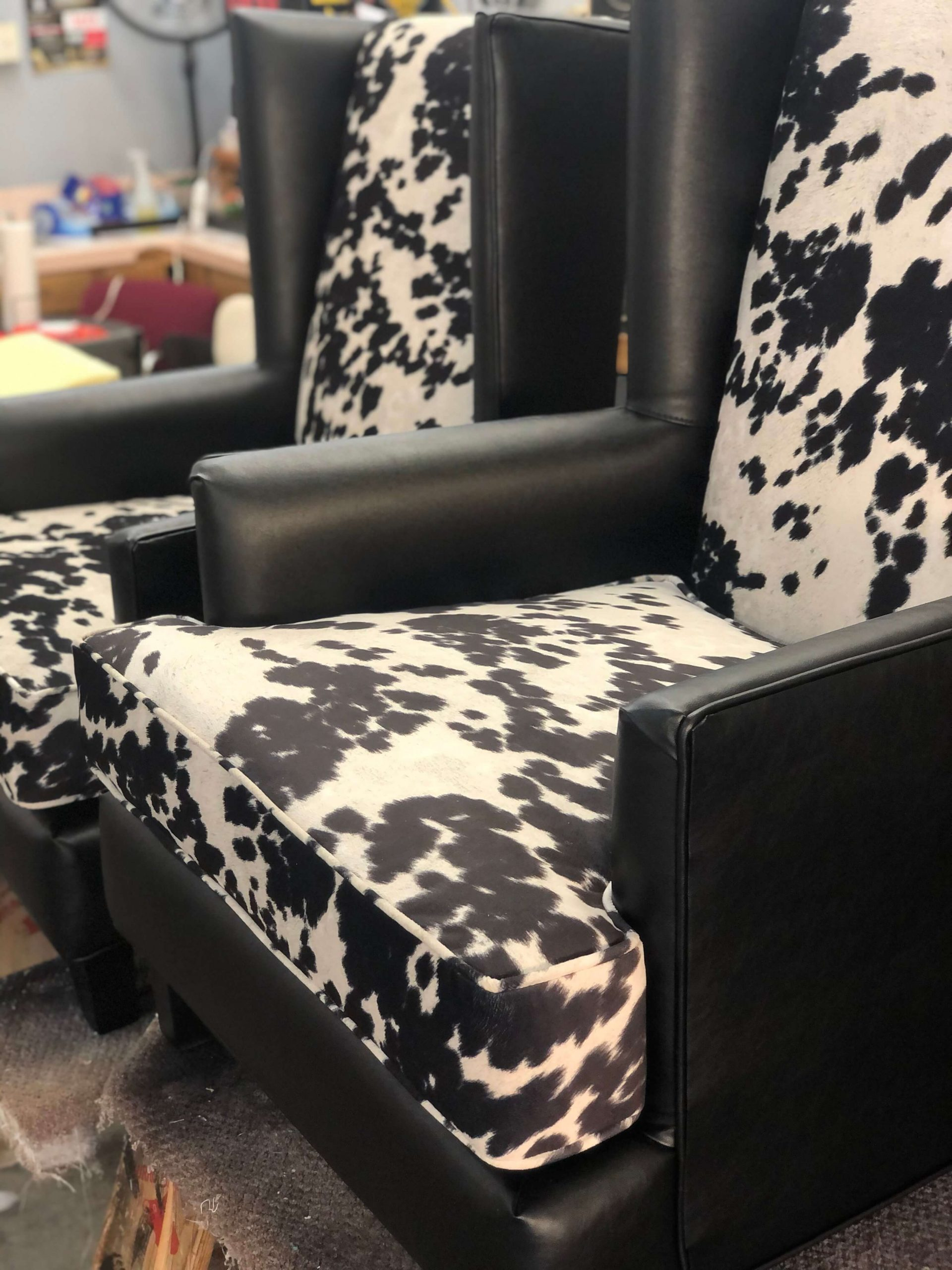Vegas Upholstery Cow Hyde Custom Wingback Chairs